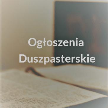 INFORMACJE DUSZPASTERSKIE XXII NIEDZIELA ZWYKŁA – 30 VIII 2020